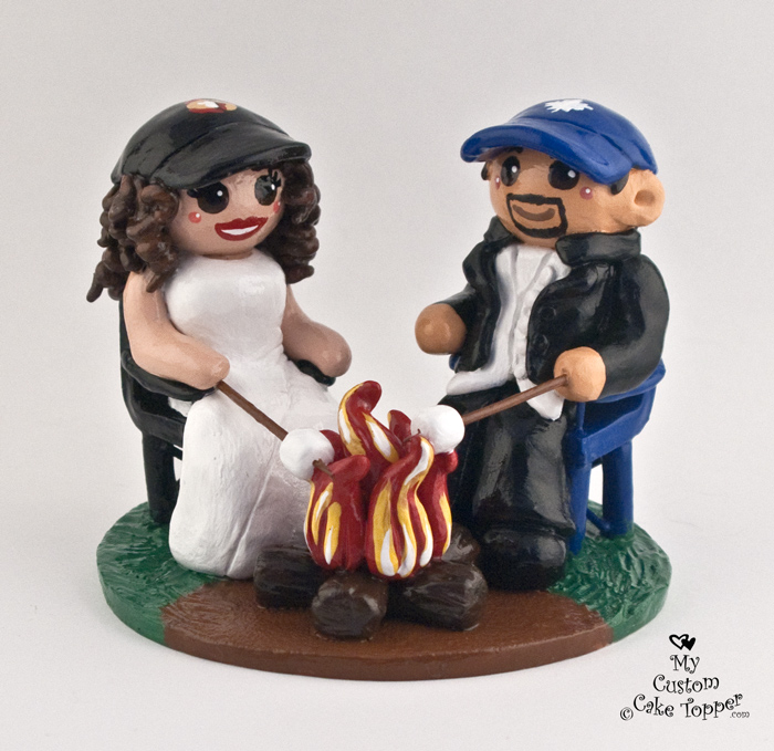 custom wedding cake toppers toronto and groom roasting marshmallows the campfire 13261