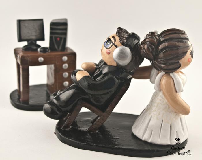 Bride Dragging Computer Groom Cake Topper