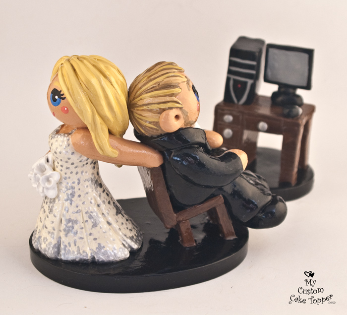 Bride Dragging Her Groom Away From Computer Cake Topper