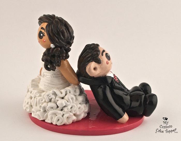 Hockey Wedding Cake Topper Cheering Bride And Hockey Groom Custom