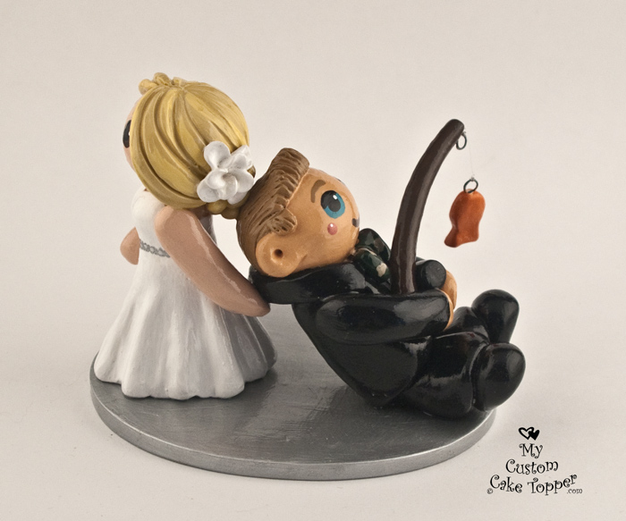 Bride dragging her fishing groom wedding cake topper my for Fishing cake toppers