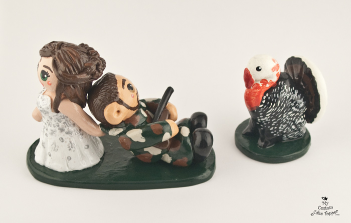 Turkey Hunting Cake Decorations : Bride Groom Custom Wedding Cake Toppers