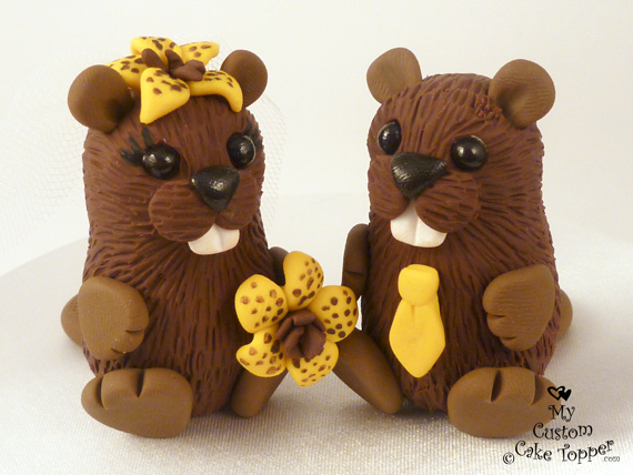 cute animal wedding cake toppers beavers cake topper my custom cake topper 13267