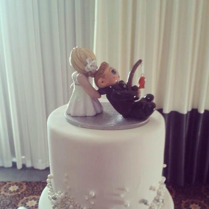 Bride Dragging Fishing Groom Cake Topper