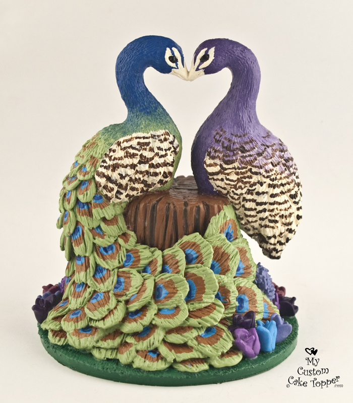 Peacock Wedding Cake Topper