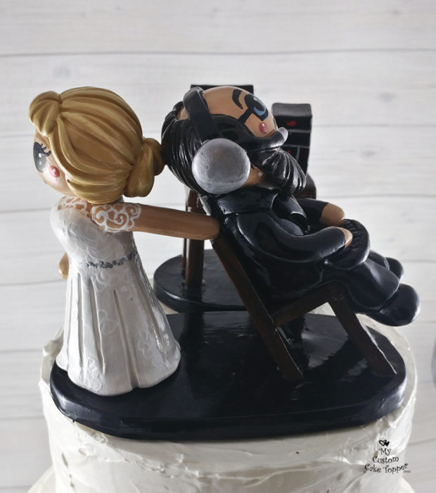 Bride Dragging Groom Computer Cake Topper