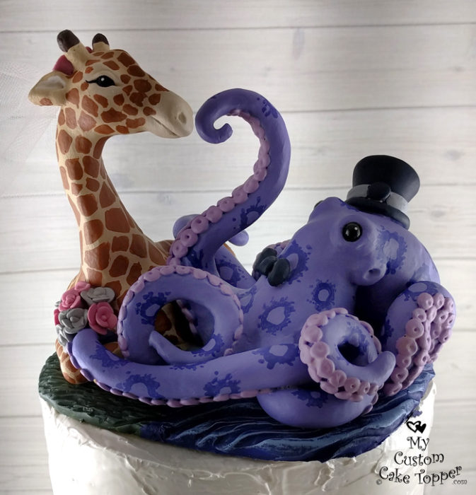 animal wedding cake toppers custom