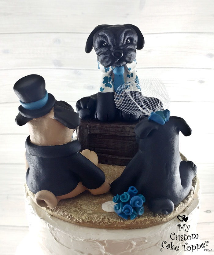 Pug Dogs Officiant And Bride And Groom Cake Topper My