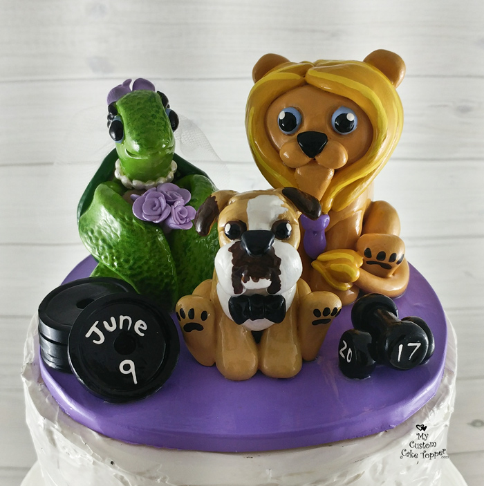 Turtle, Lion and Dog Cartoon Cake Topper - My Custom Cake Topper