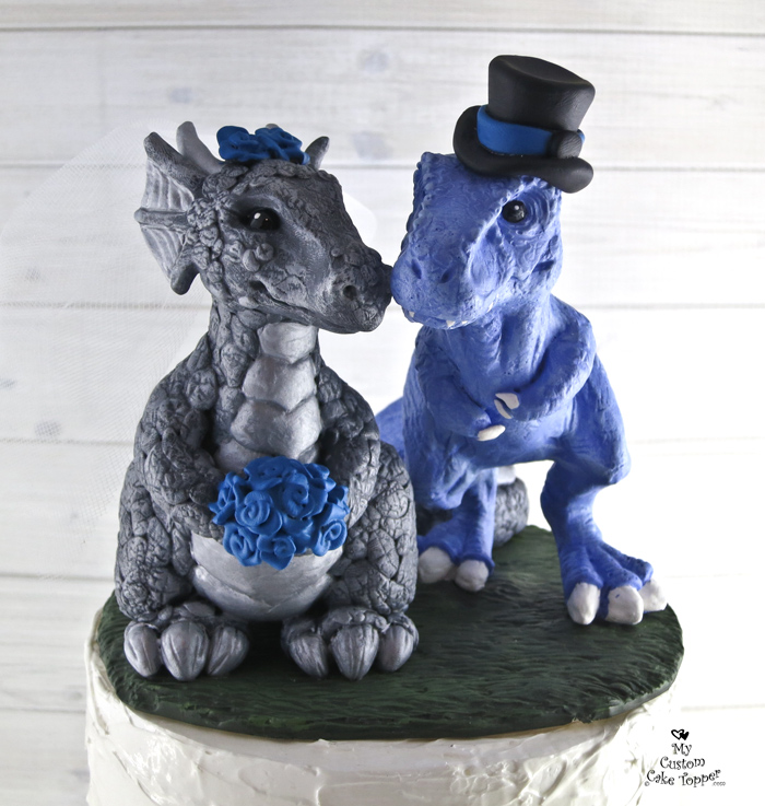 Dinosaur T Rex And Dragon Realistic Wedding Cake Topper