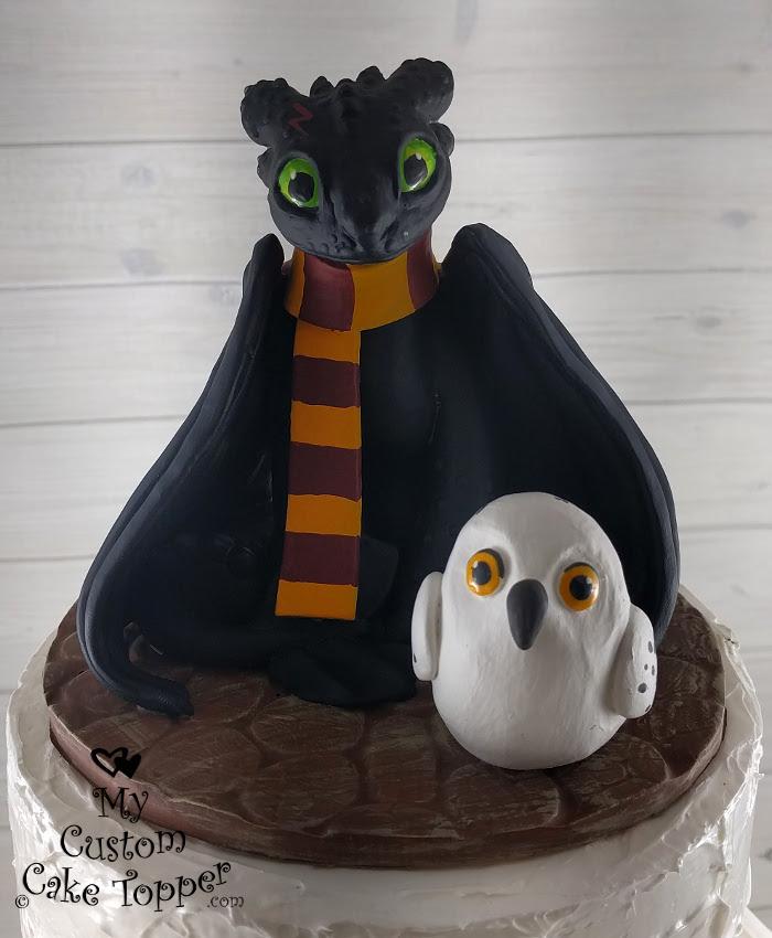 How to train your dragon nightfury and harry potter owl cake topper how to train your dragon nightfury and harry potter owl cake topper ccuart Gallery