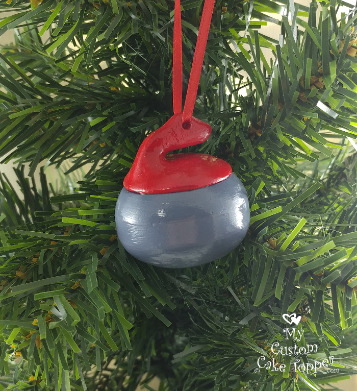 curling rock christmas ornament
