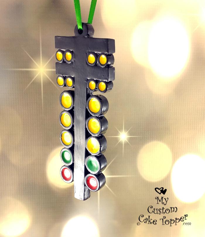 Drag Racing Light Christmas Tree Ornament - My Custom Cake Topper
